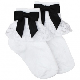 Girls White Lace Socks with Black Satin Bows