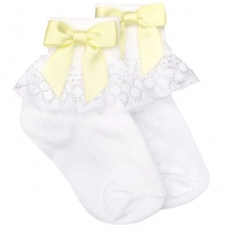 Girls White Lace Socks with Lemon Satin Bows