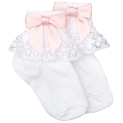 Girls White Lace Socks with Baby Pink Satin Bows