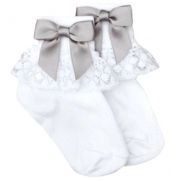 Girls White Lace Socks with Silver Satin Bows