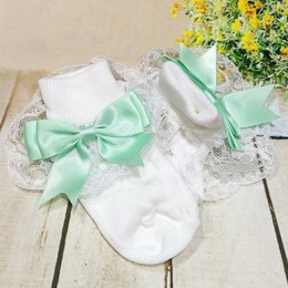 Girls White & Mint Large Satin Bow Lace Socks