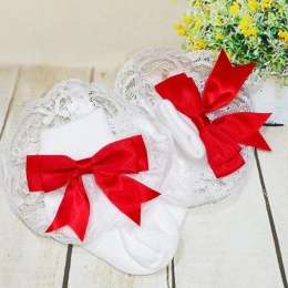 Girls White & Red Large Satin Bow Lace Socks