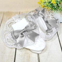 Girls White & Silver Large Satin Bow Lace Socks