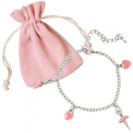 Girls Ballerina Charm Flower Girl Bracelet