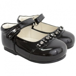 Girls Black Patent Diamante Special Occasion Shoes