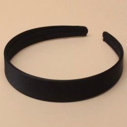 Girls Black Plain Satin Alice Head Band 2.5cm