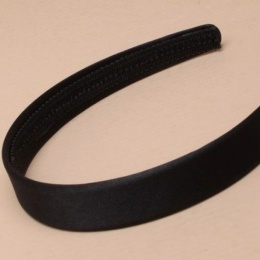 Girls Black Plain Satin Alice Head Band 2cm