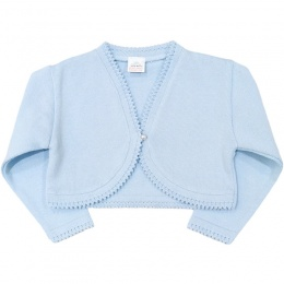 Girls Light Blue 100% Cotton Long Sleeved Bolero