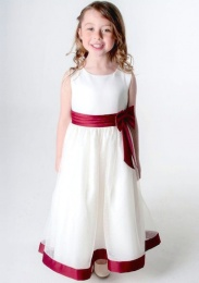 Girls Burgundy & Ivory Satin Bow Dress