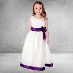 Girls Cadbury Purple & Ivory Satin Bow Dress