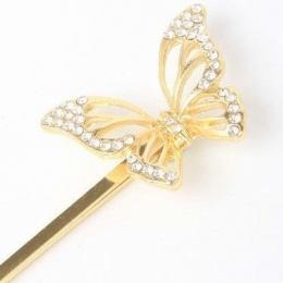 Girls Gold Butterfly Crystal Hair Slide x 2