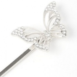 Girls Silver Butterfly Crystal Hair Slide x 2