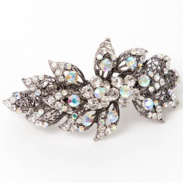 Girls Sparkly Crystal Filigree Leaf Barrette Hair Clip