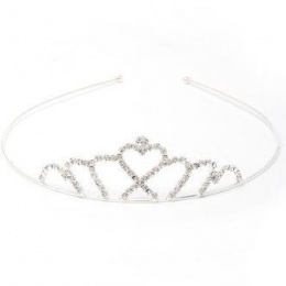 Girls Crystal Heart Silver Plated Tiara