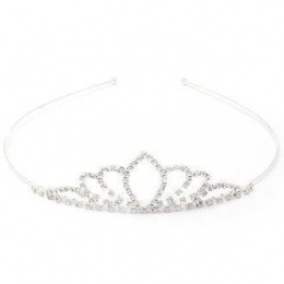 Girls Crystal Tapered Leaf Silver Plated Tiara