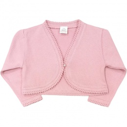 Girls Dusky Pink 100% Cotton Long Sleeved Bolero