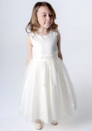 Girls Ivory Daisy & Organza Tulle Dress