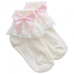 Girls Ivory Lace Socks with Baby Pink Satin Bows