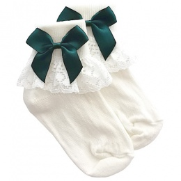 Girls Ivory Lace Socks with Forest Green Satin Bows