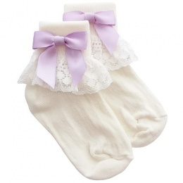 Girls Ivory Lace Socks with Lilac Satin Bows