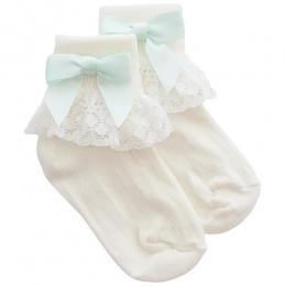 Girls Ivory Lace Socks with Mint Green Satin Bows