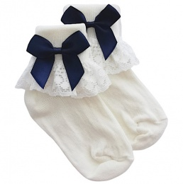 Girls Ivory Lace Socks with Navy Satin Bows