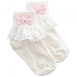 Girls Ivory Lace Socks with Pink Pearl Bow