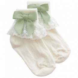 Girls Ivory Lace Socks with Sage Green Satin Bows