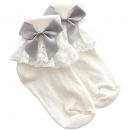 Girls Ivory Lace Socks with Silver Satin Bows