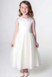 Girls Ivory Organza & Diamante Dress
