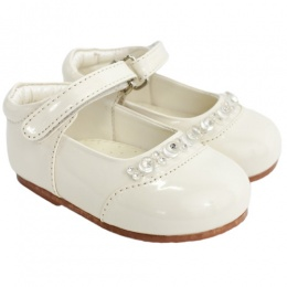 Girls Ivory Patent Diamante Special Occasion Shoes