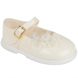 Girls Ivory Patent Organza Flower Special Occasion Shoes