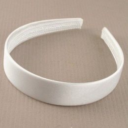 Girls Ivory Plain Satin Alice Head Band 2.5cm