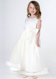 Girls Ivory Satin Bow Dress