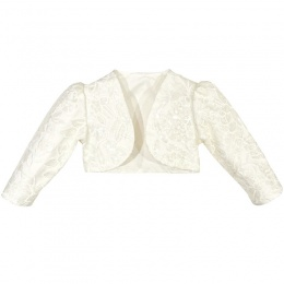 Girls Ivory Embroidered Sequin Long Sleeved Bolero