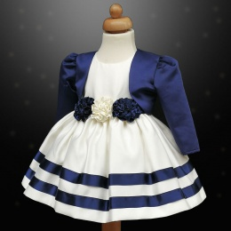 Girls Navy & Ivory Ribbon Rosette Dress & Bolero Jacket