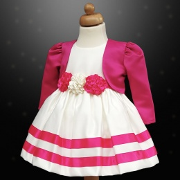 Girls Cerise Pink & Ivory Ribbon Rosette Dress & Bolero Jacket
