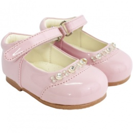 Girls Pink Patent Diamante Special Occasion Shoes