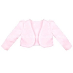 Girls Pink Satin Long Sleeved Bolero