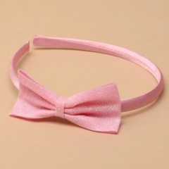 Girls Pink Satin Pearlised Glitter Bow Alice Head Band