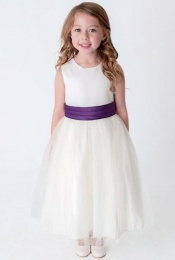 Girls Cadbury Purple & Ivory Organza Diamante Dress