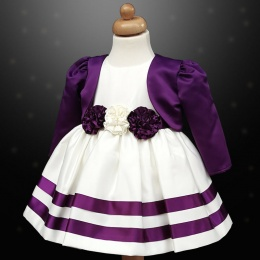 Girls Cadbury Purple & Ivory Ribbon Rosette Dress & Bolero Jacket