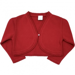Girls Red 100% Cotton Long Sleeved Bolero