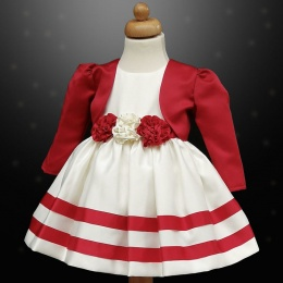 Girls Red & Ivory Ribbon Rosette Dress & Bolero Jacket