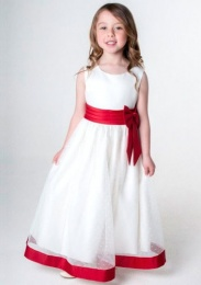 Girls Red & Ivory Satin Bow Dress