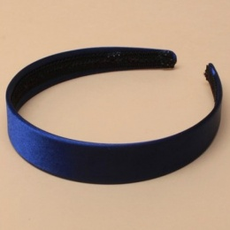 Girls Royal Blue Plain Satin Alice Head Band 2.5cm