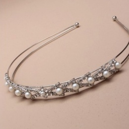 Girls Silver Plated Crystal & Pearl Alice Band / Tiara
