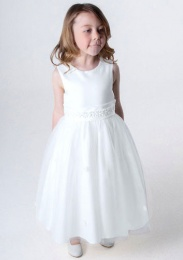 Girls White Daisy & Organza Tulle Dress