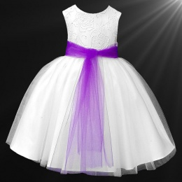 Girls White Diamante & Organza Dress with Purple Sash