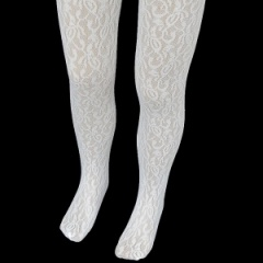 Girls White Floral Lace Christening Wedding Tights